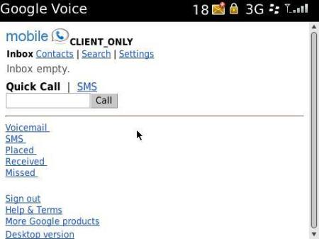 Google Voice per blackberry